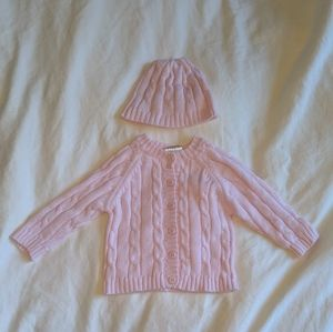Pink Cable-Knit Cardigan & Beanie Size 0-6M